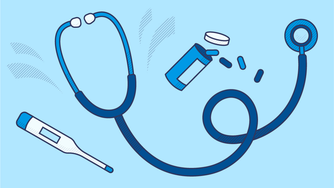 Clipart style digital thermometer, stethoscope, and bottle of medication