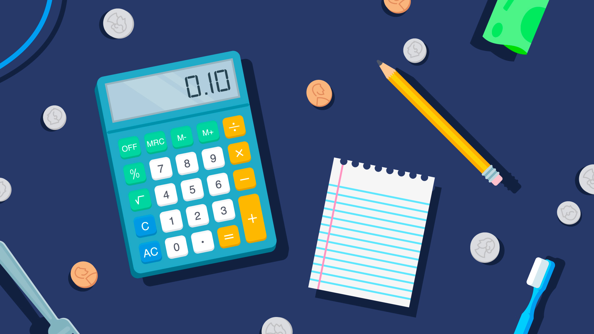 calculator and notepad