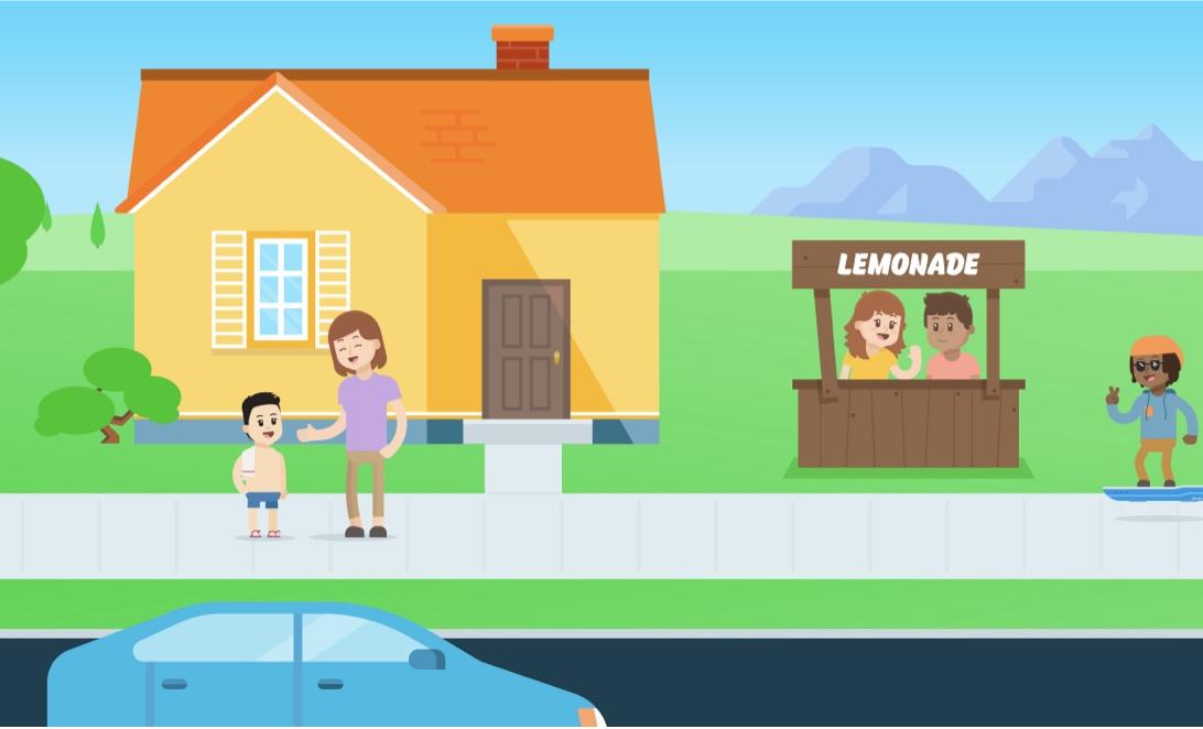 Kids running a lemonade stand in the neighborhood