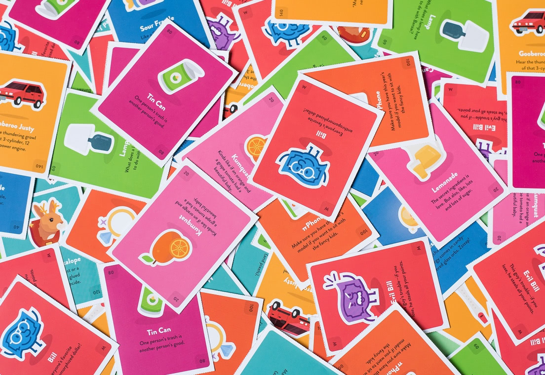 Colorful cards with fun illustration that accompany the Banzai Junior workbook